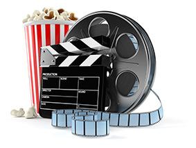 Film reel with popcorn